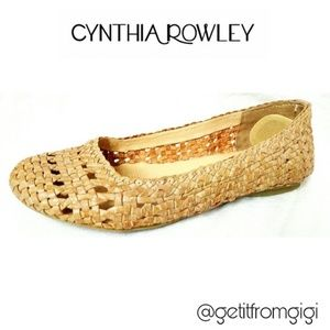 Cynthia Rowley Camel Brown Leather Weave Flats